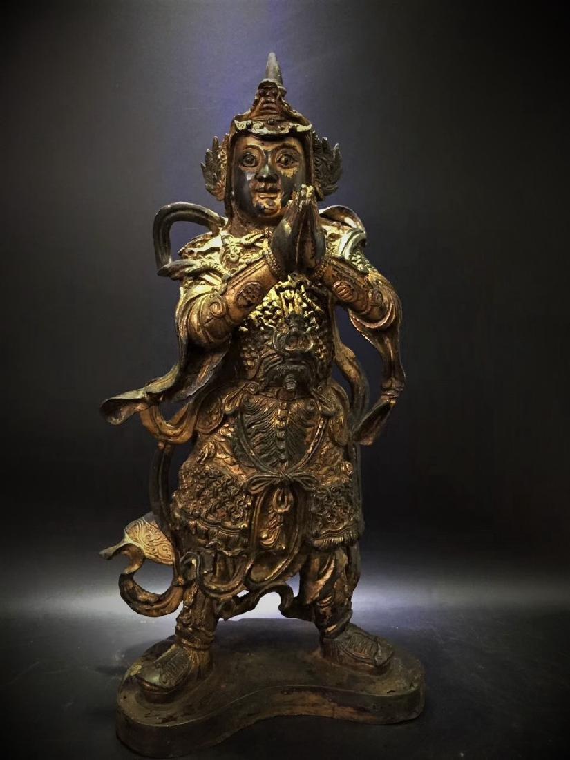 Large Gilt Bronze Figure of Warrior Immortal