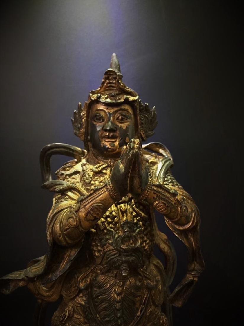 Large Gilt Bronze Figure of Warrior Immortal - 2