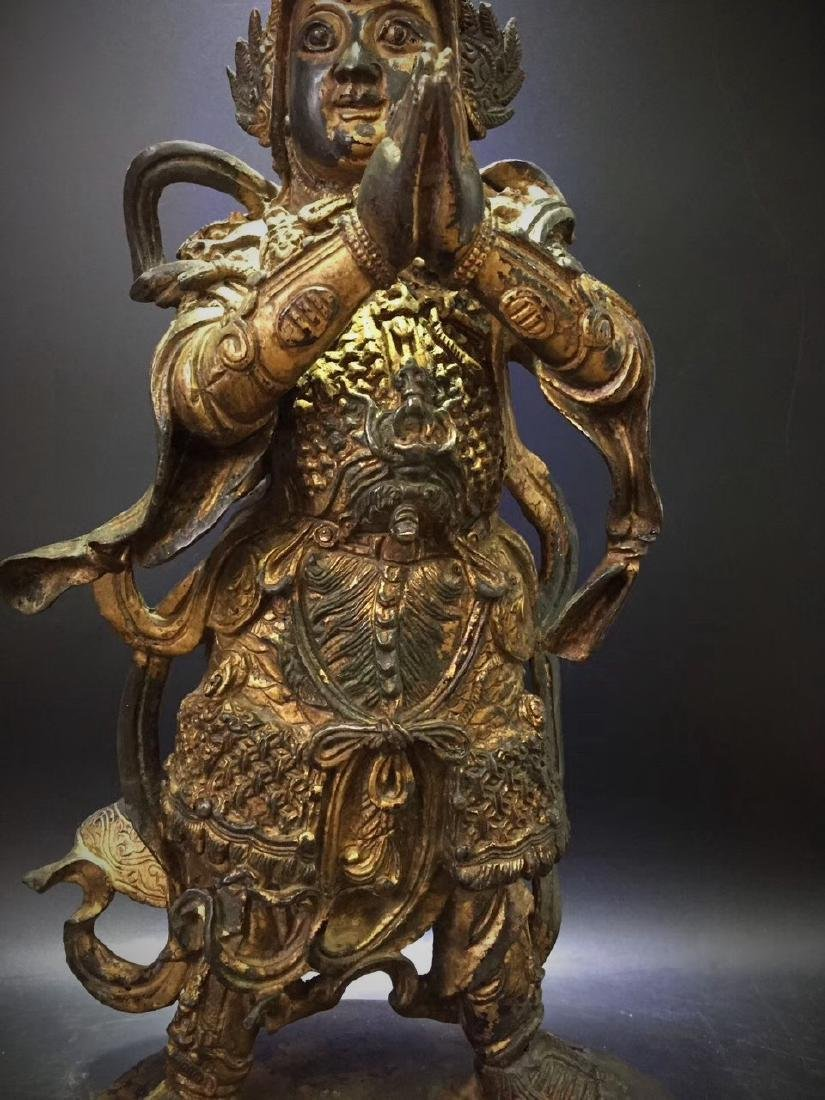 Large Gilt Bronze Figure of Warrior Immortal - 3