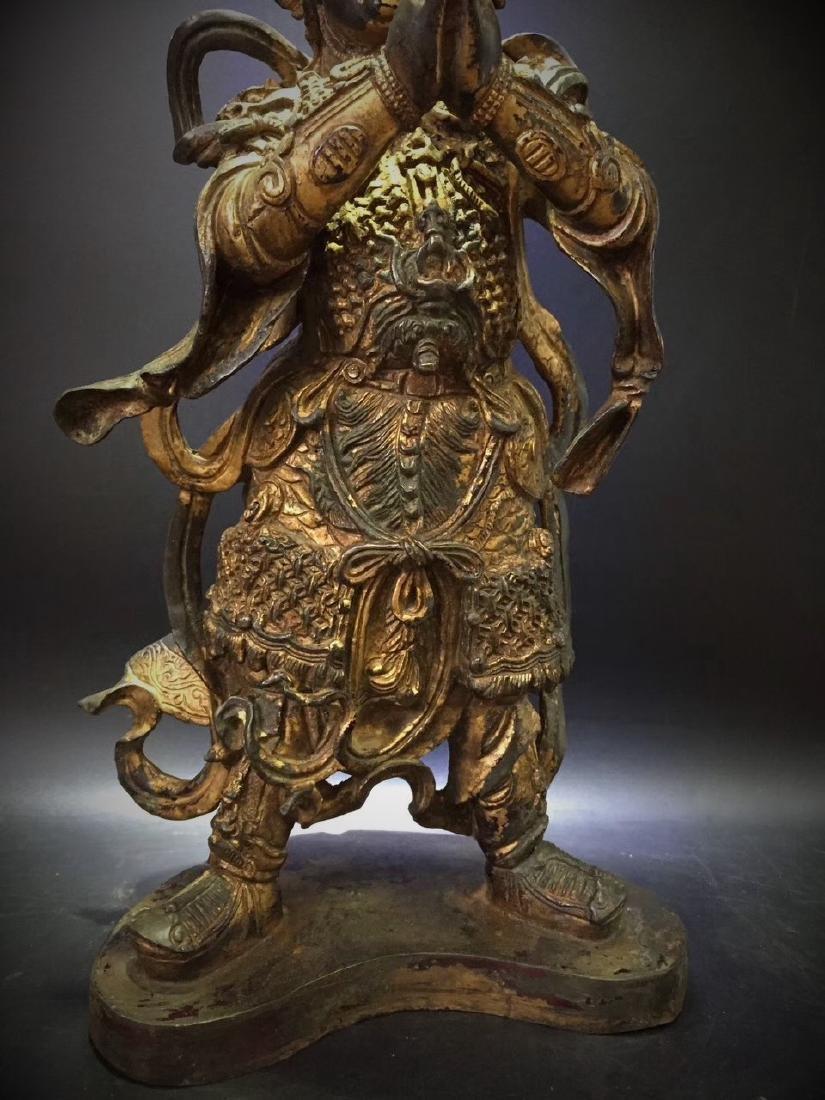 Large Gilt Bronze Figure of Warrior Immortal - 4