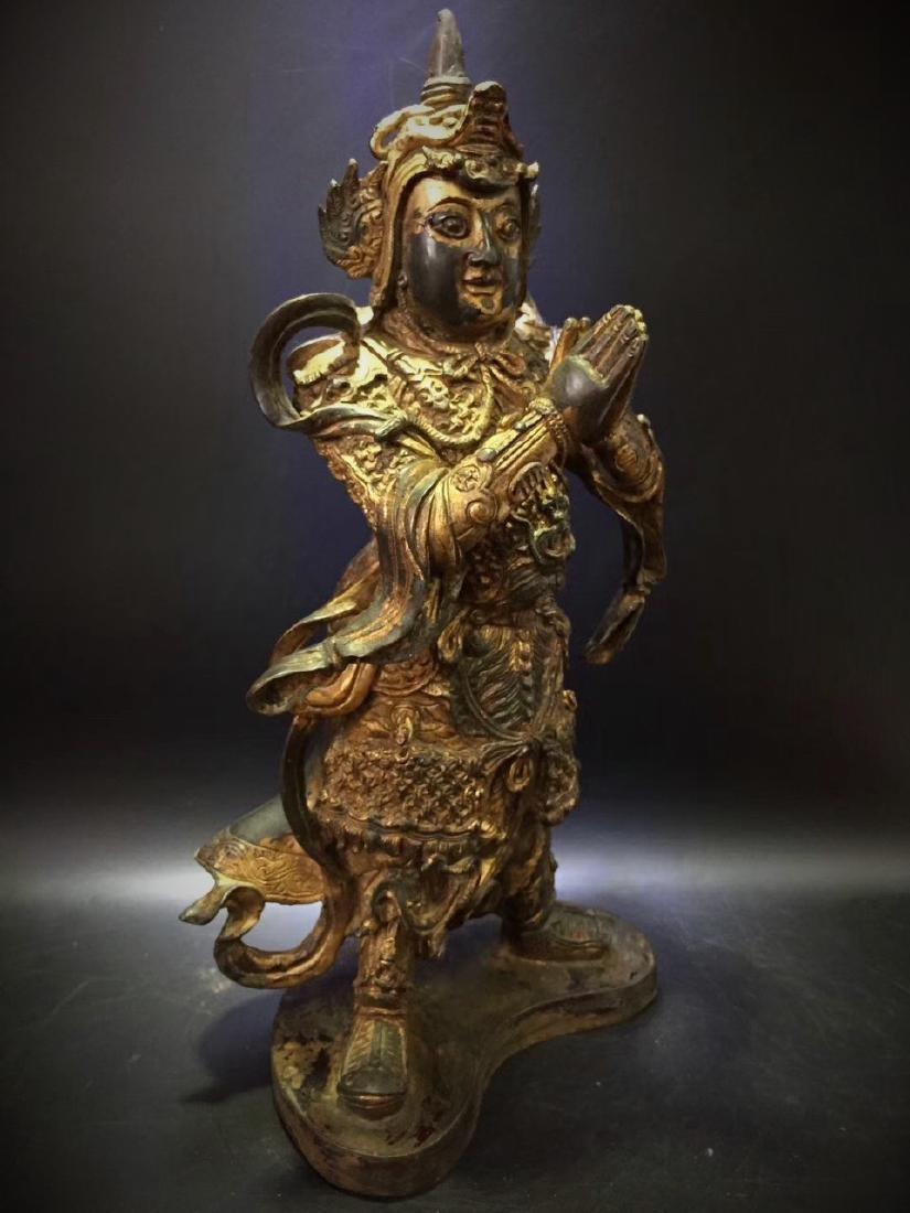 Large Gilt Bronze Figure of Warrior Immortal - 5