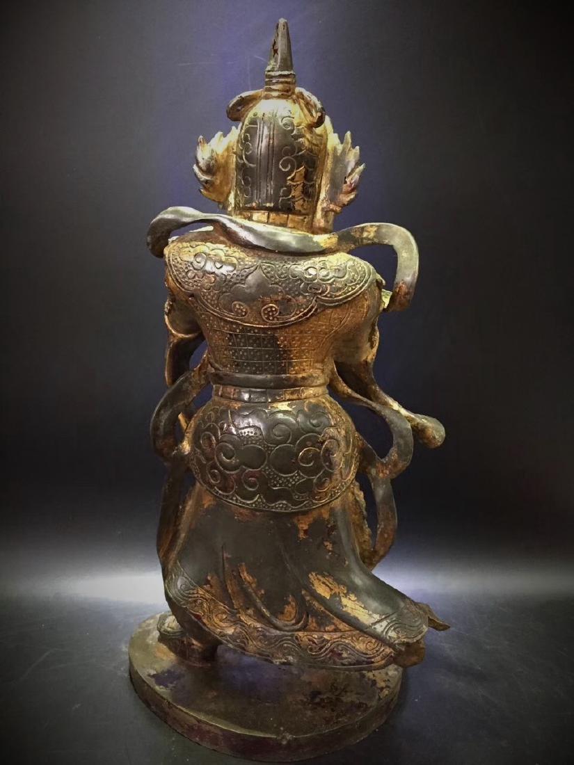 Large Gilt Bronze Figure of Warrior Immortal - 6