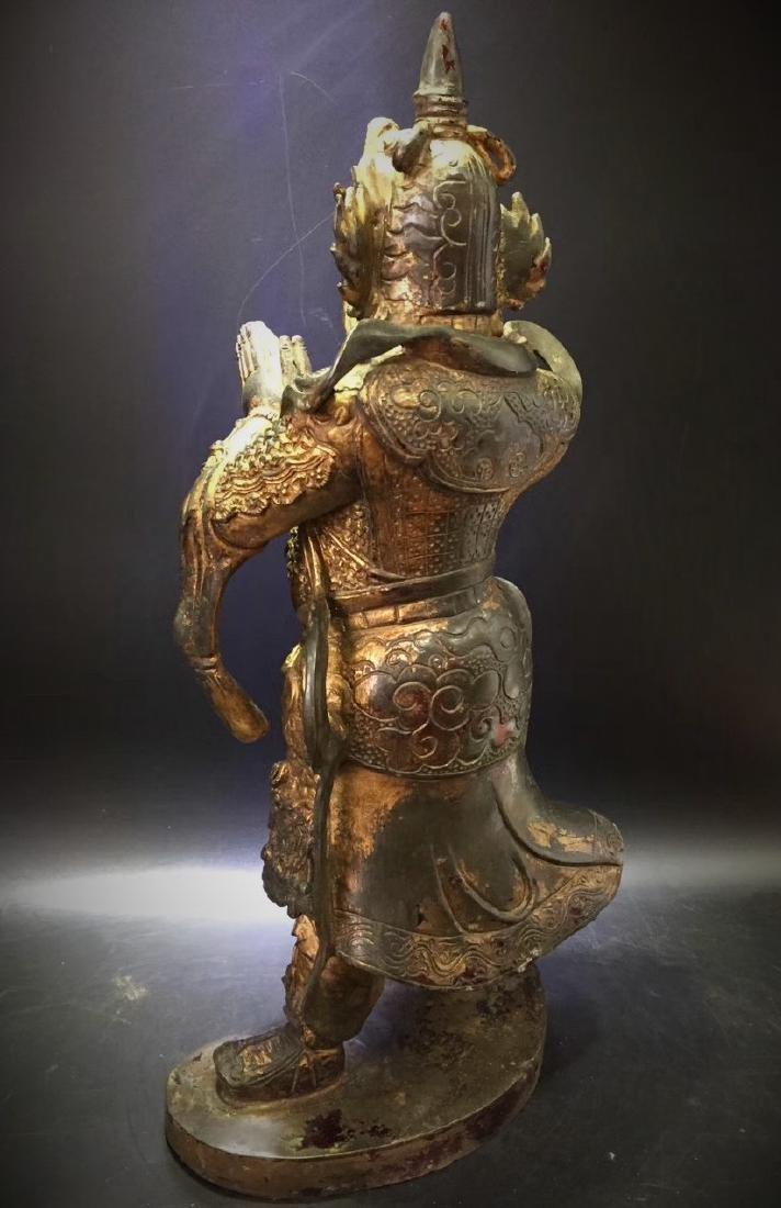 Large Gilt Bronze Figure of Warrior Immortal - 7