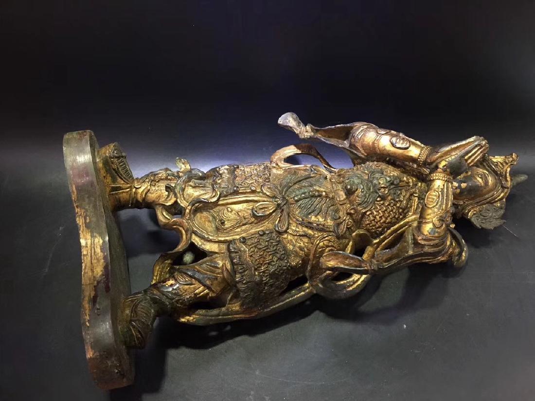 Large Gilt Bronze Figure of Warrior Immortal - 8