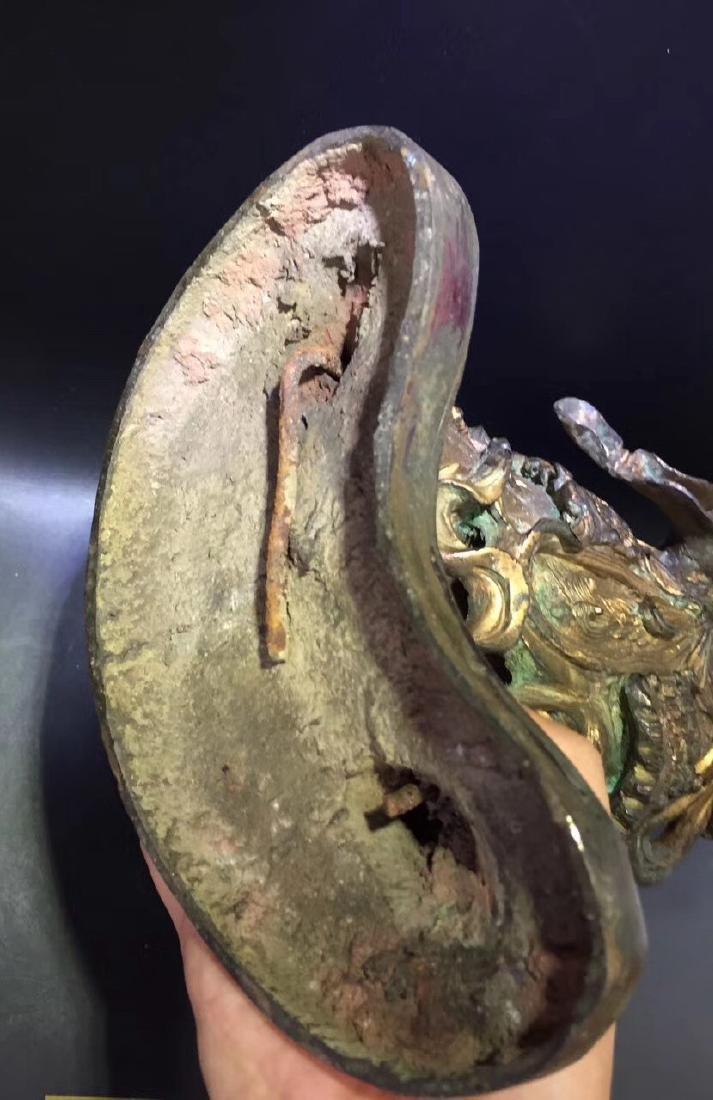 Large Gilt Bronze Figure of Warrior Immortal - 9