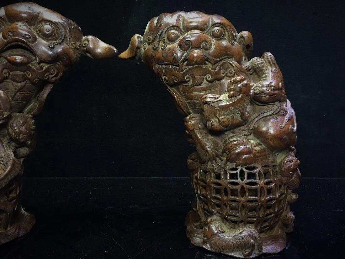 A Pair of Bamboo  Foo Dogs - 10