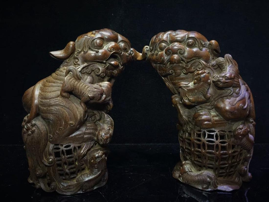 A Pair of Bamboo  Foo Dogs