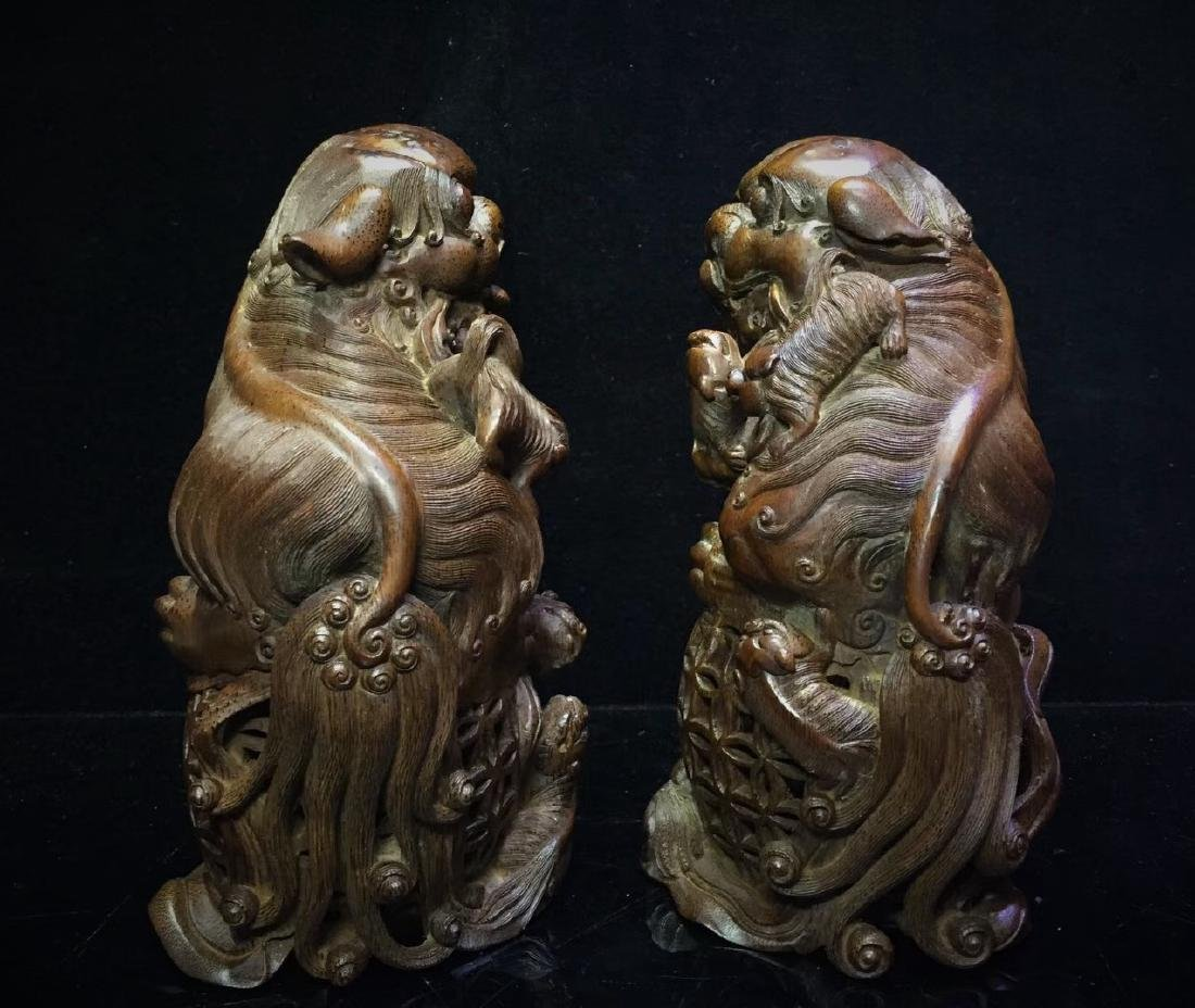A Pair of Bamboo  Foo Dogs - 2