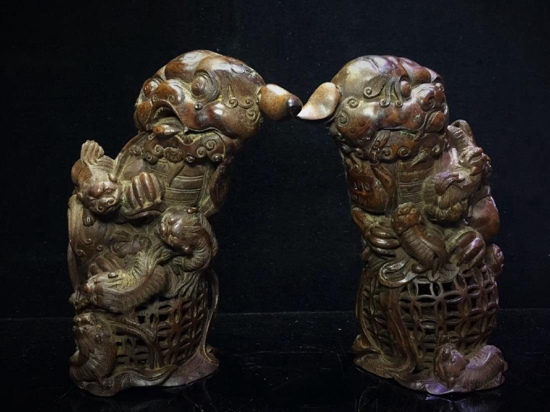 A Pair of Bamboo  Foo Dogs - 4