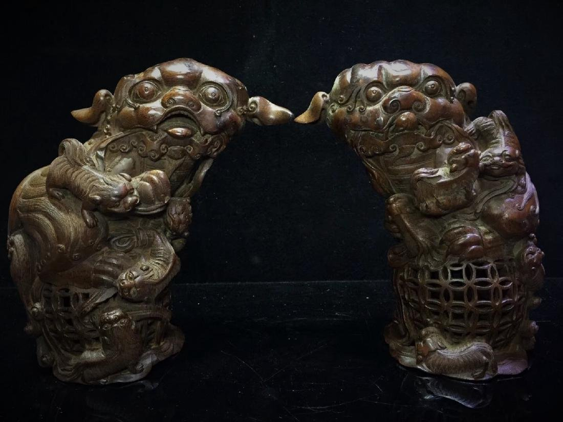 A Pair of Bamboo  Foo Dogs - 6