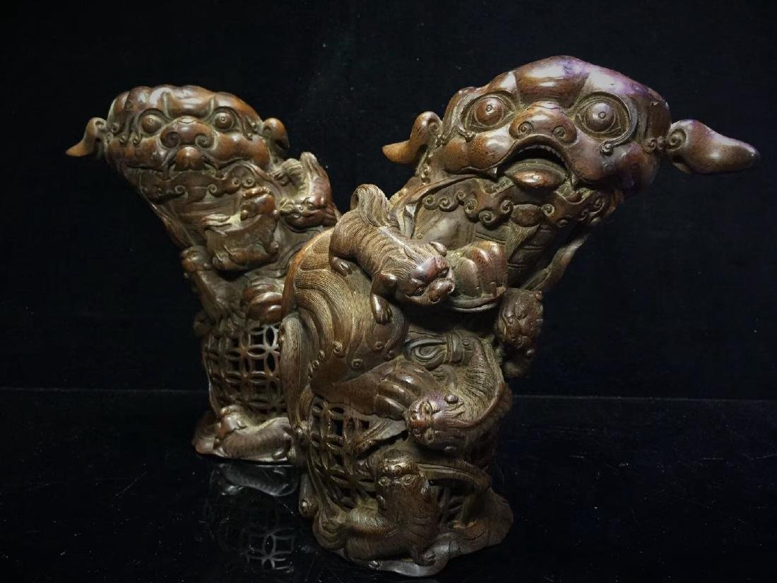 A Pair of Bamboo  Foo Dogs - 7
