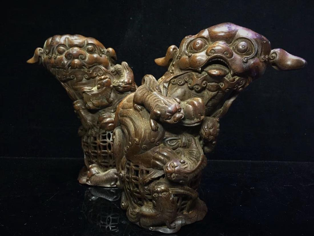 A Pair of Bamboo  Foo Dogs - 8