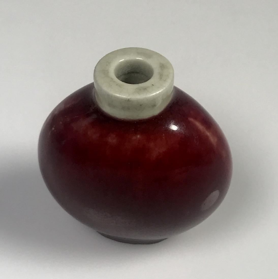Red Glazed Porcelain Snuff Bottle - 6