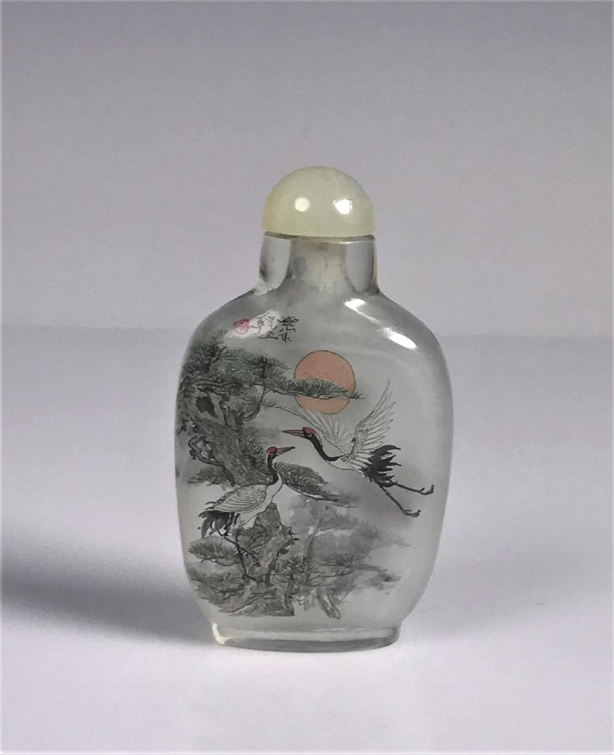 Inside Painted Glass Birds with Characters Snuff Bottle - 4