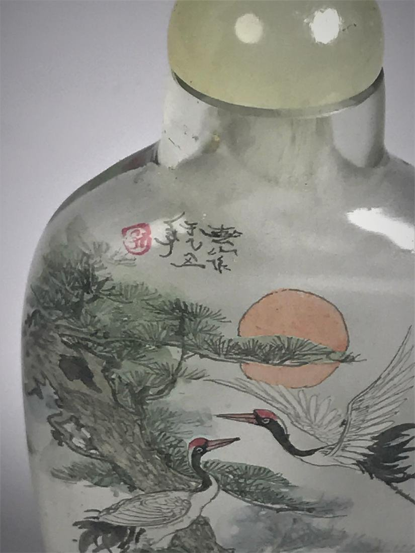 Inside Painted Glass Birds with Characters Snuff Bottle - 5