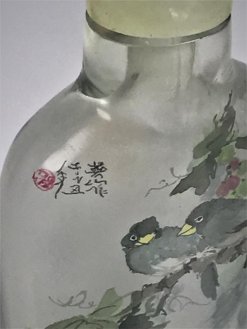 Inside Painted Glass Birds with Characters Snuff Bottle - 7