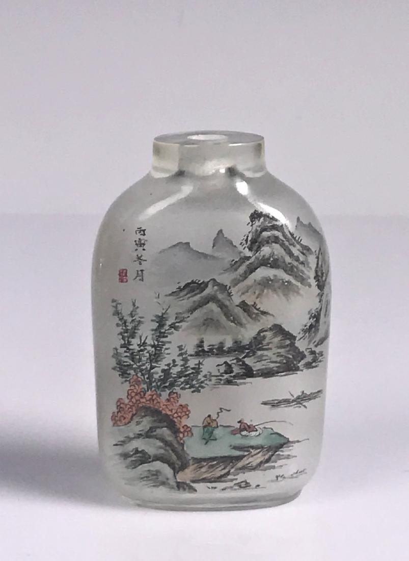 inside painted Glass Mountain  Characters Snuff Bottle