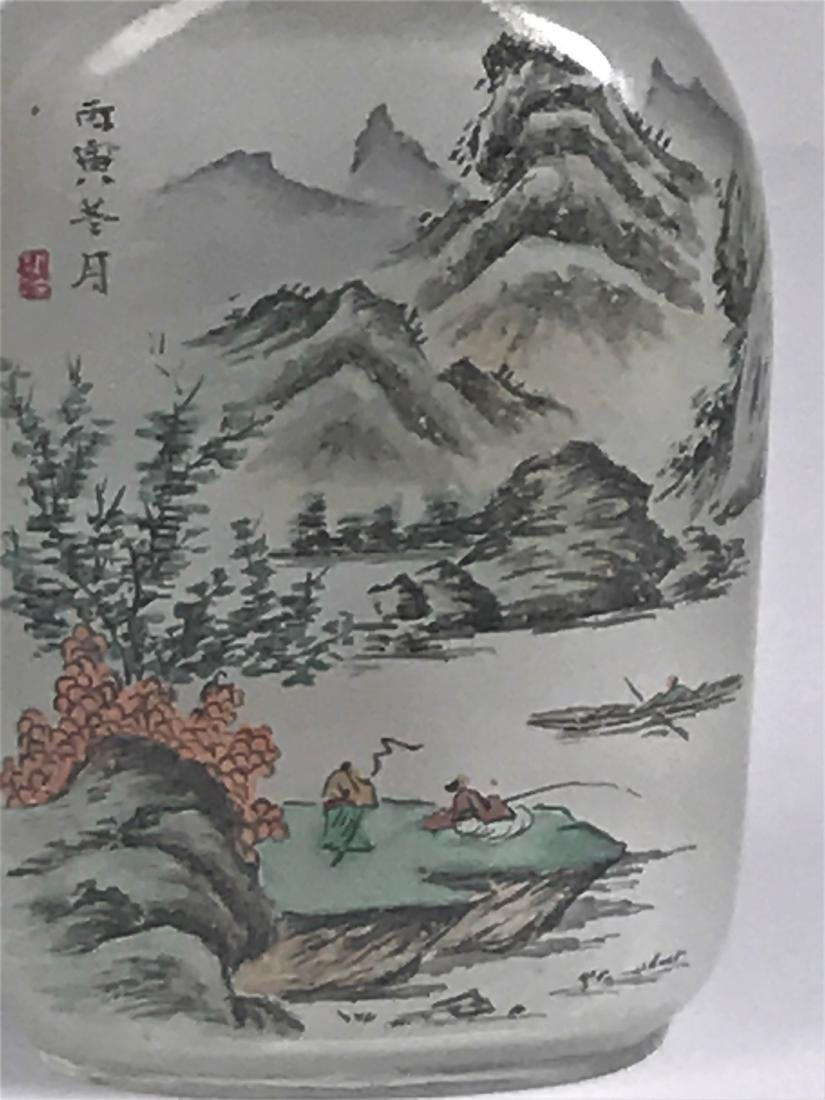 inside painted Glass Mountain  Characters Snuff Bottle - 2