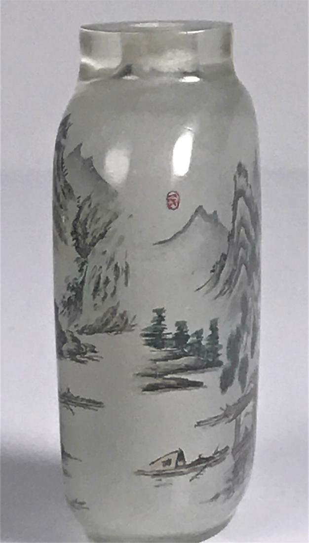 inside painted Glass Mountain  Characters Snuff Bottle - 3