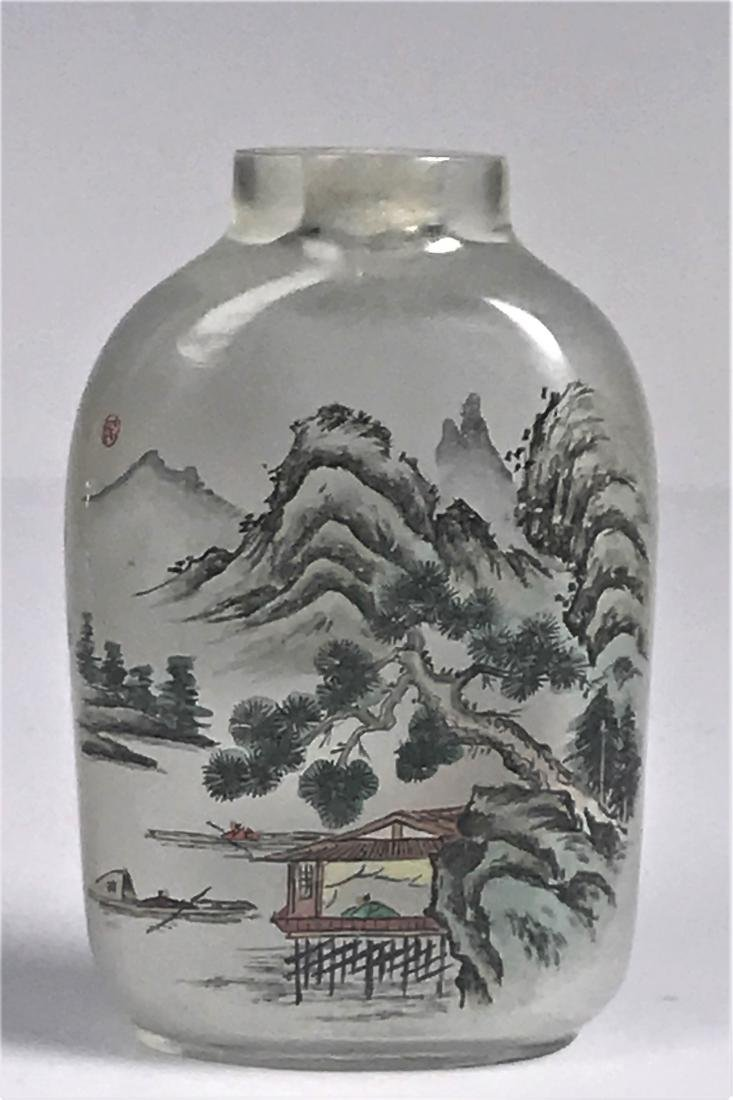 inside painted Glass Mountain  Characters Snuff Bottle - 5