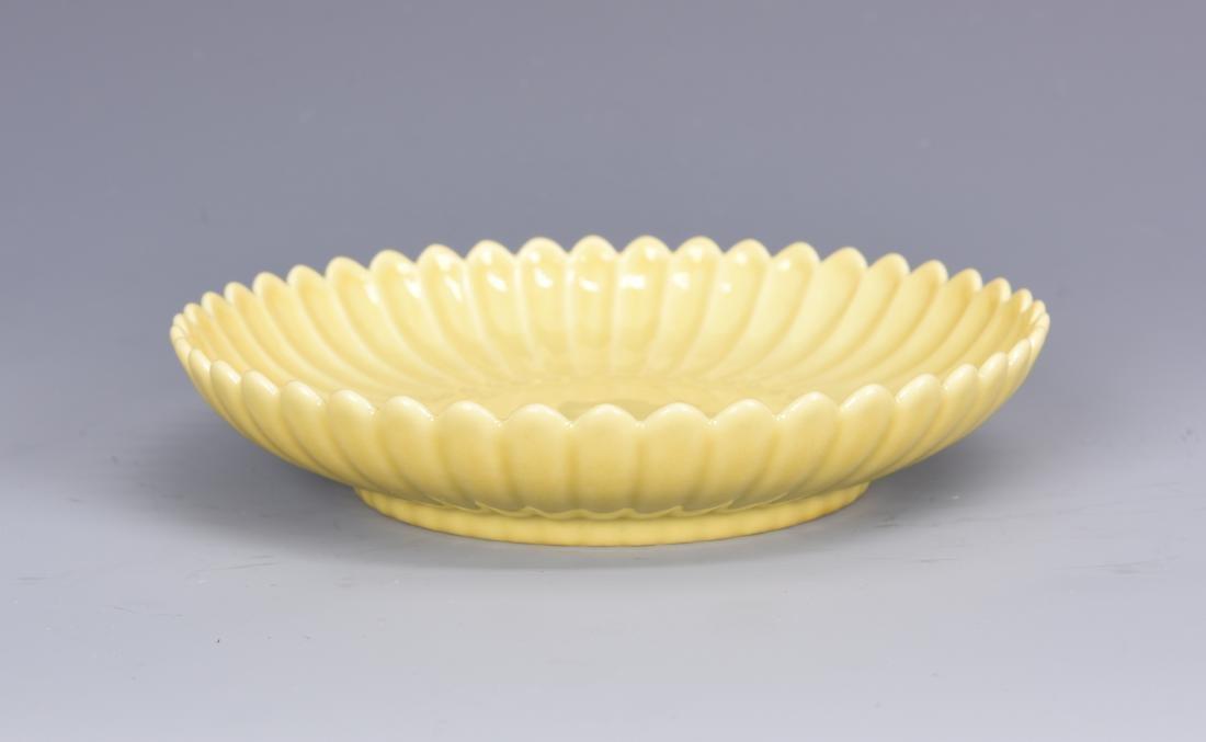 Yellow Glazed Chrysanthemum  Petal Dish with Mark