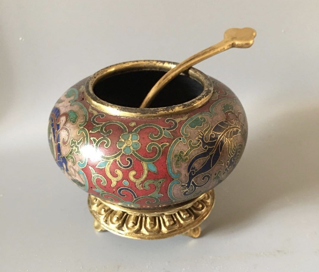 Cloisonne Enamel Gilt-Bronze Small Bowl With Spon