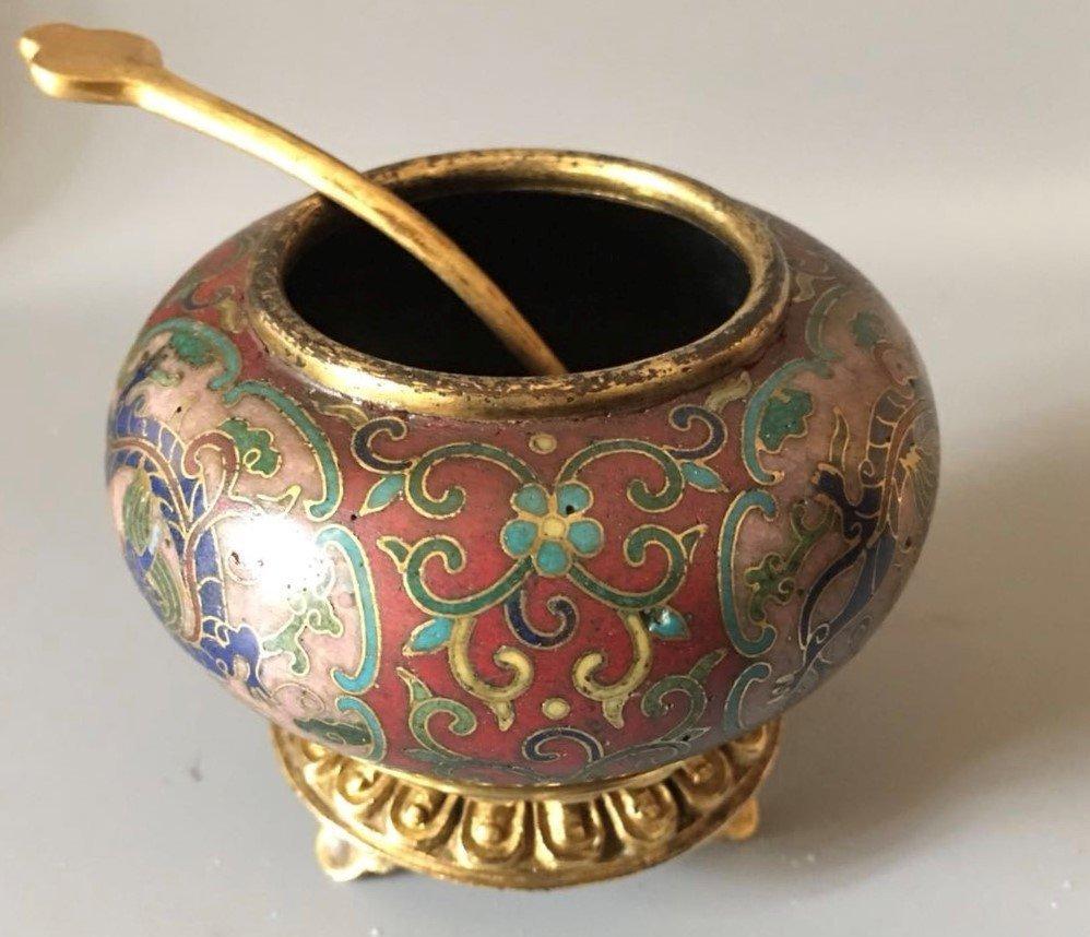 Cloisonne Enamel Gilt-Bronze Small Bowl With Spon - 4