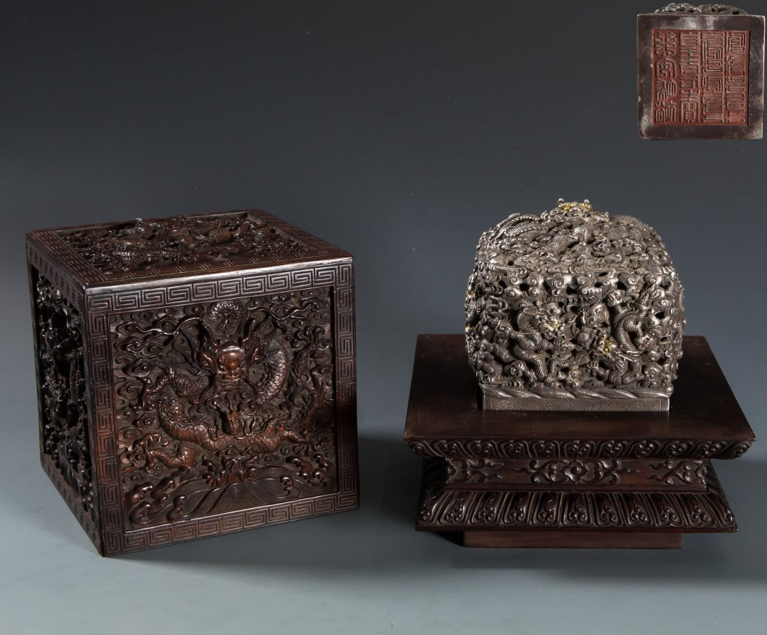 A Rare Weighted Chinese Silver Dragon Seal &  Wood Box