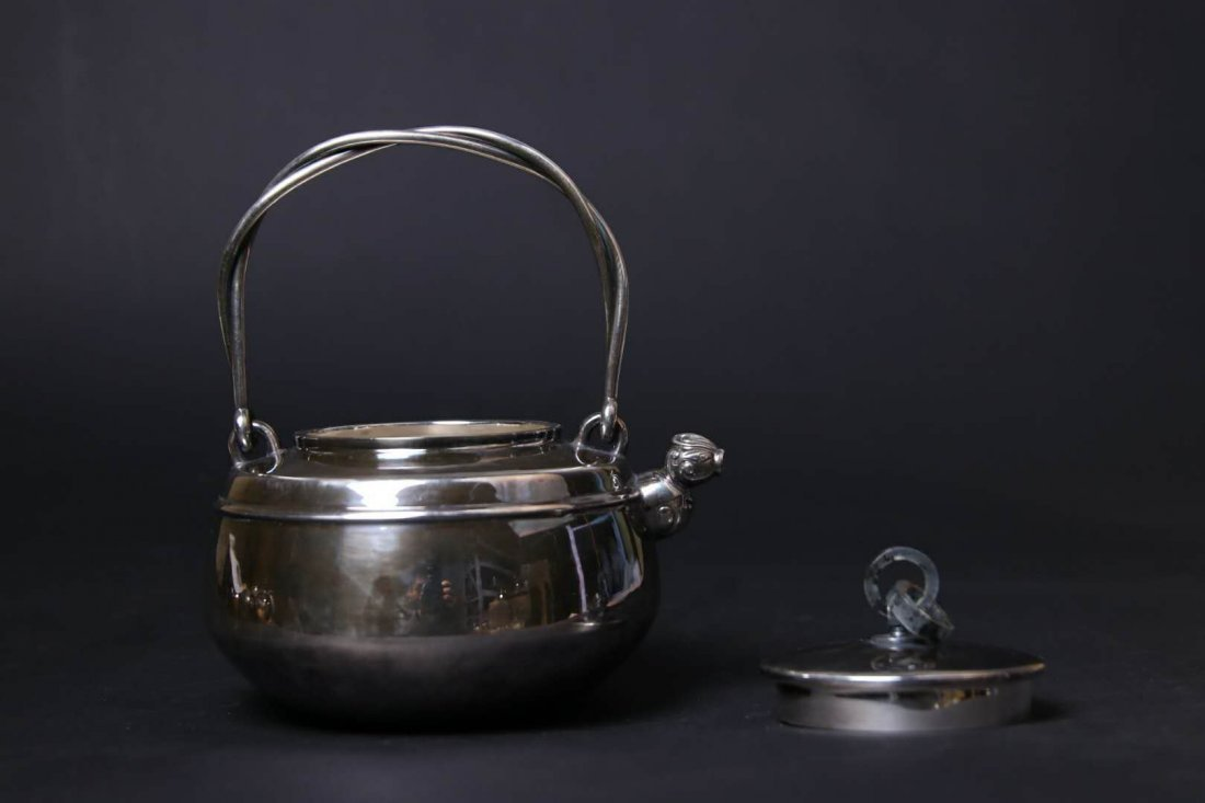 Japanese Silver Teapot With Mark - 7