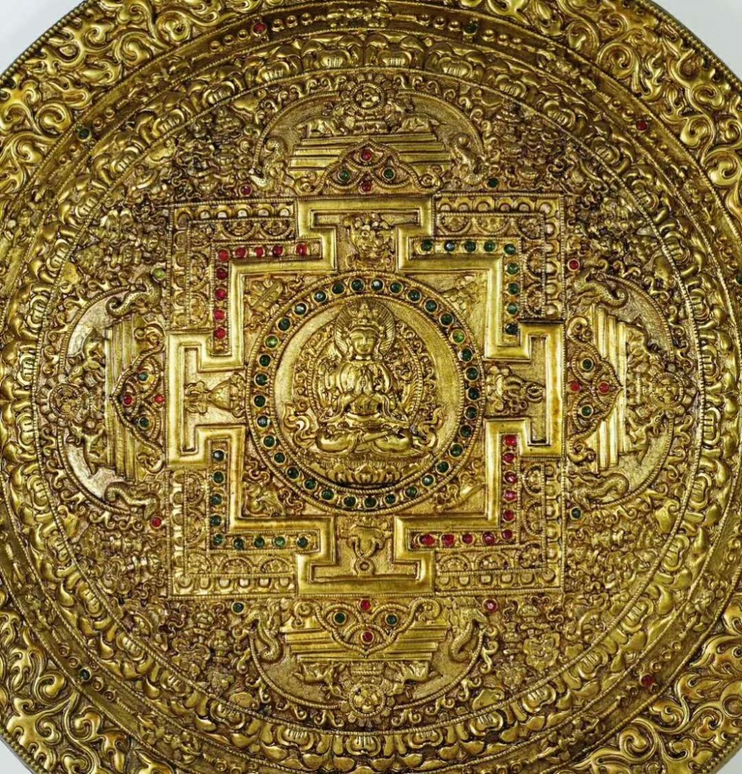 A Gilt Bronze Disk Depicting Buddha with Gemstone Inlay - 4