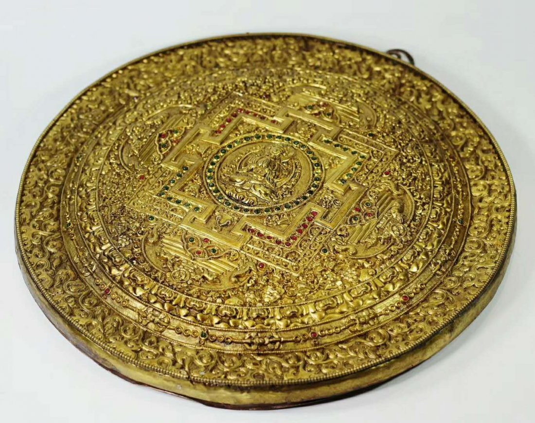 A Gilt Bronze Disk Depicting Buddha with Gemstone Inlay - 5