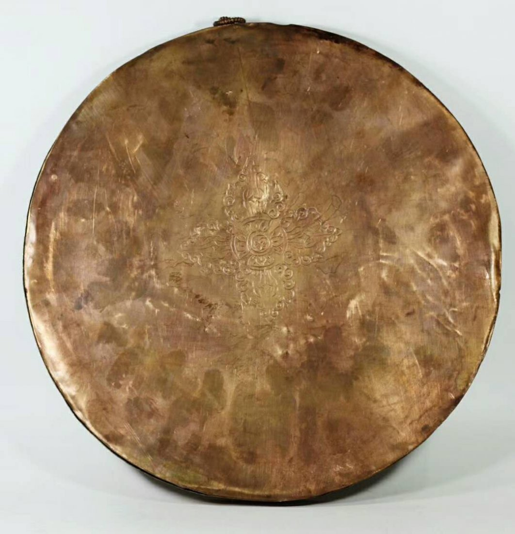 A Gilt Bronze Disk Depicting Buddha with Gemstone Inlay - 6