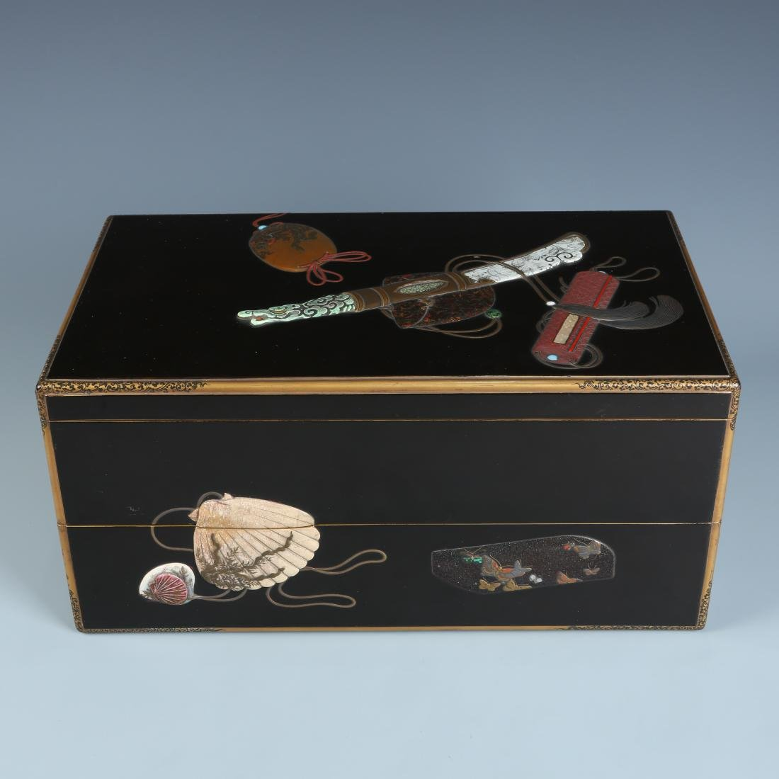 Black Lacquer Wood Box  Gilt Trim and Inlay with mark