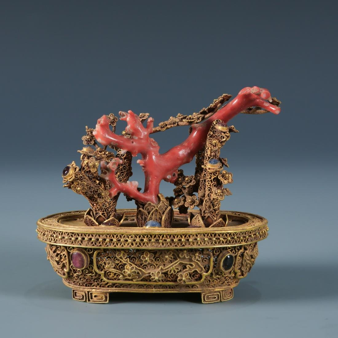 Antique Gold Ornate Flowerpot with Coral and Gem Inlay