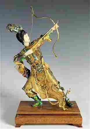 Chinese Women Archer Gilt Silver on Wood Base