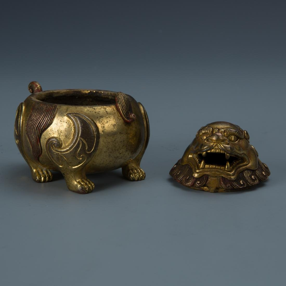 Gilt Bronze Censer of A Mythical Beast with Mark - 5