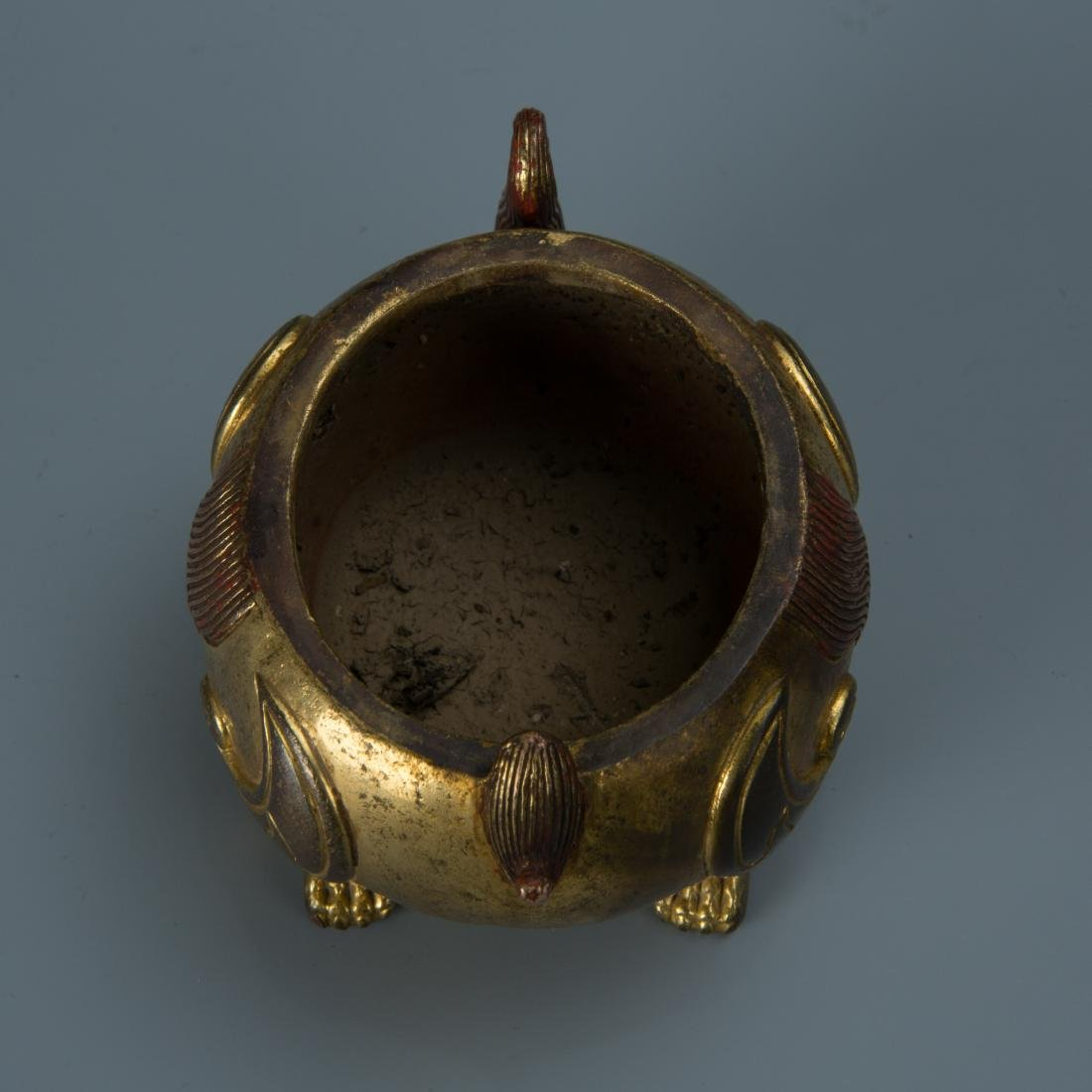 Gilt Bronze Censer of A Mythical Beast with Mark - 6