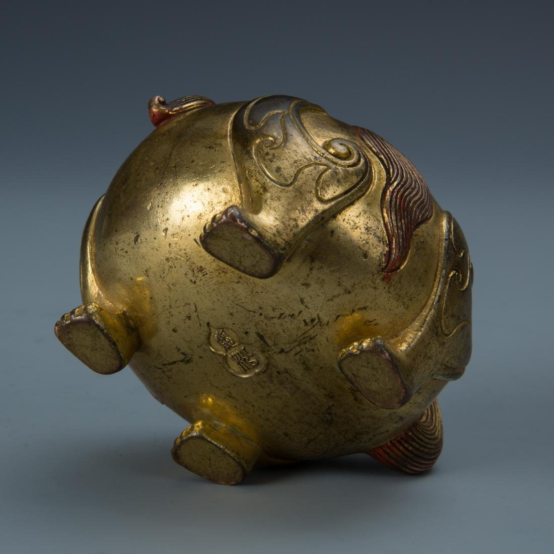 Gilt Bronze Censer of A Mythical Beast with Mark - 7