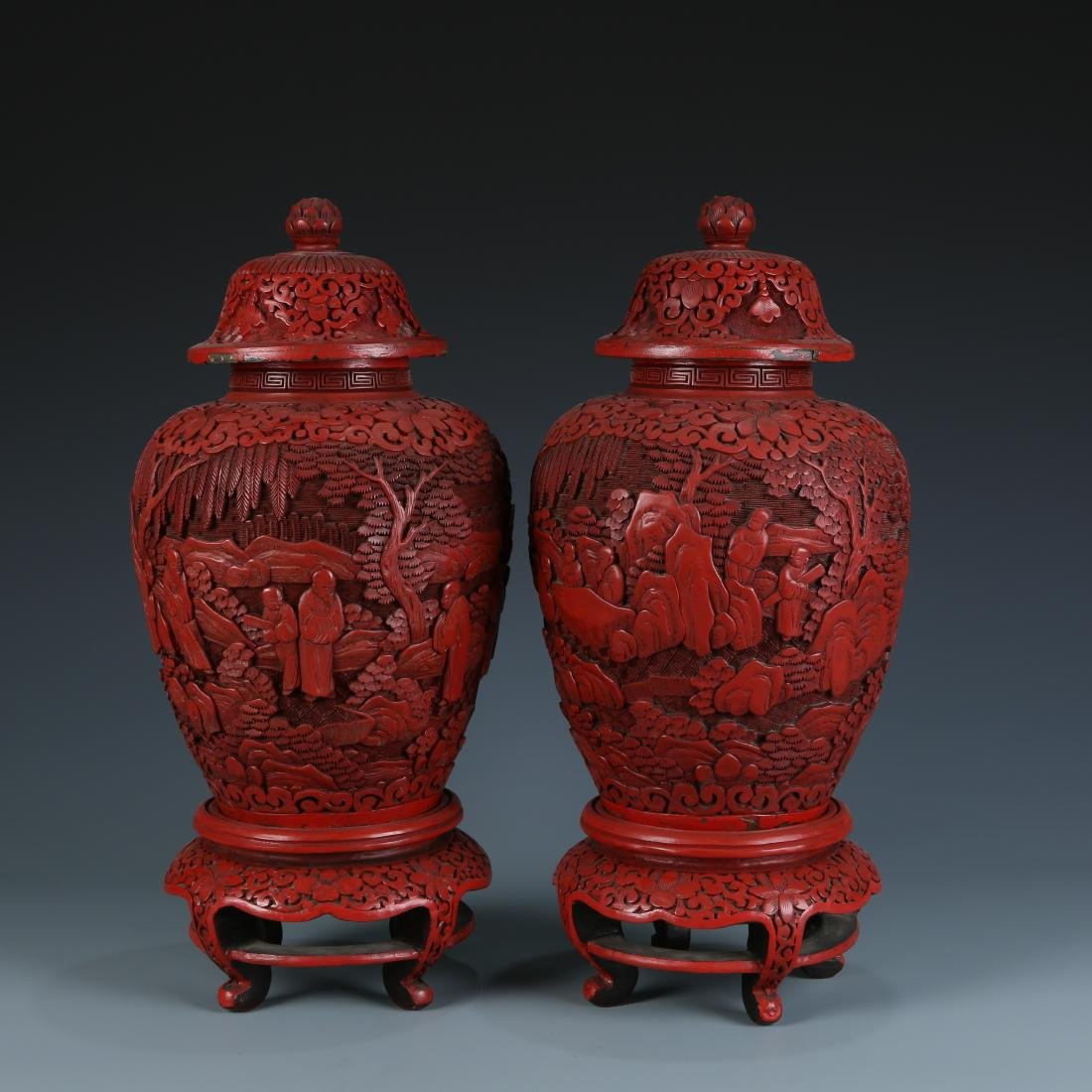 Pair of Cinnabar Baluster Vases with Cover