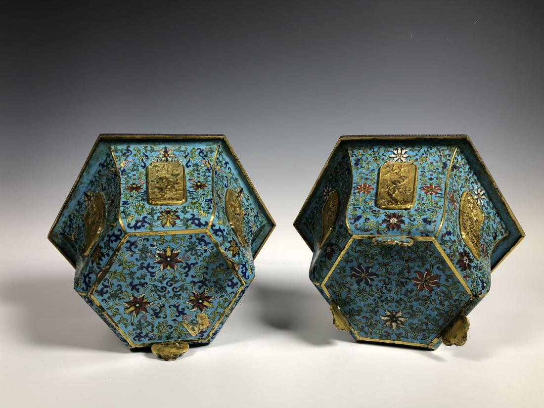Pair of Chinese Qing Dynasty Cloisonné Planters - 10