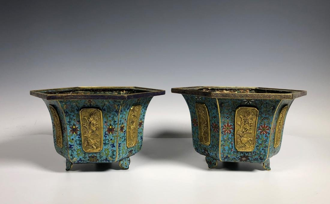 Pair of Chinese Qing Dynasty Cloisonné Planters