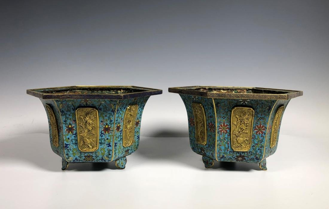 Pair of Chinese Qing Dynasty Cloisonné Planters - 2
