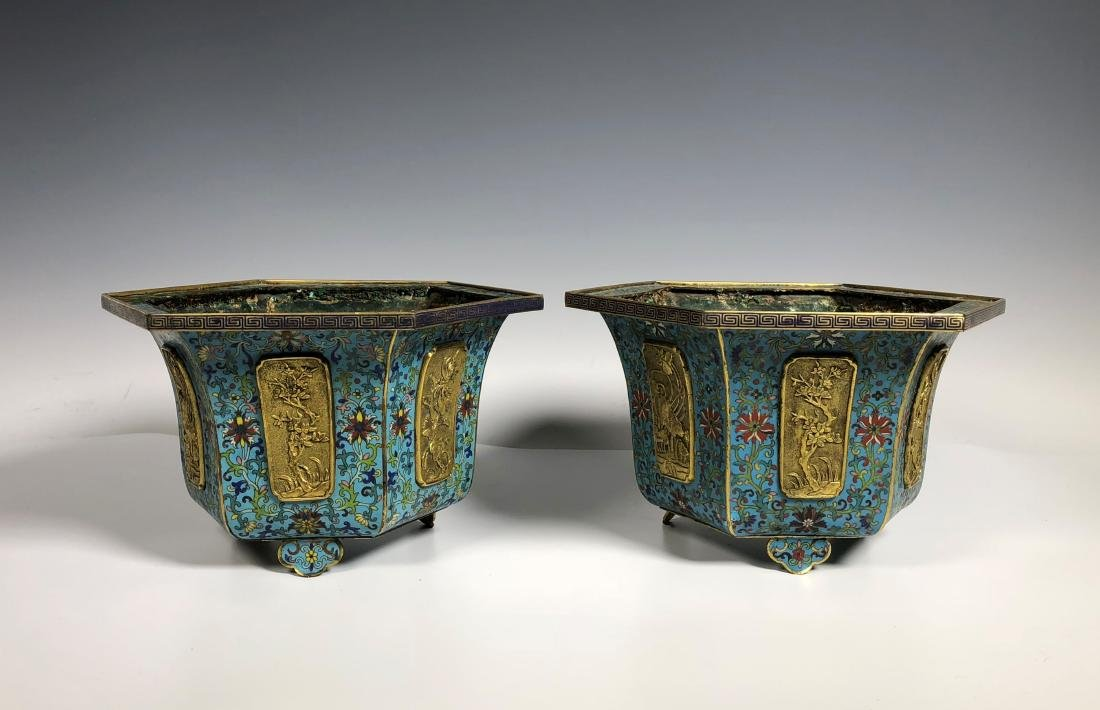 Pair of Chinese Qing Dynasty Cloisonné Planters - 3
