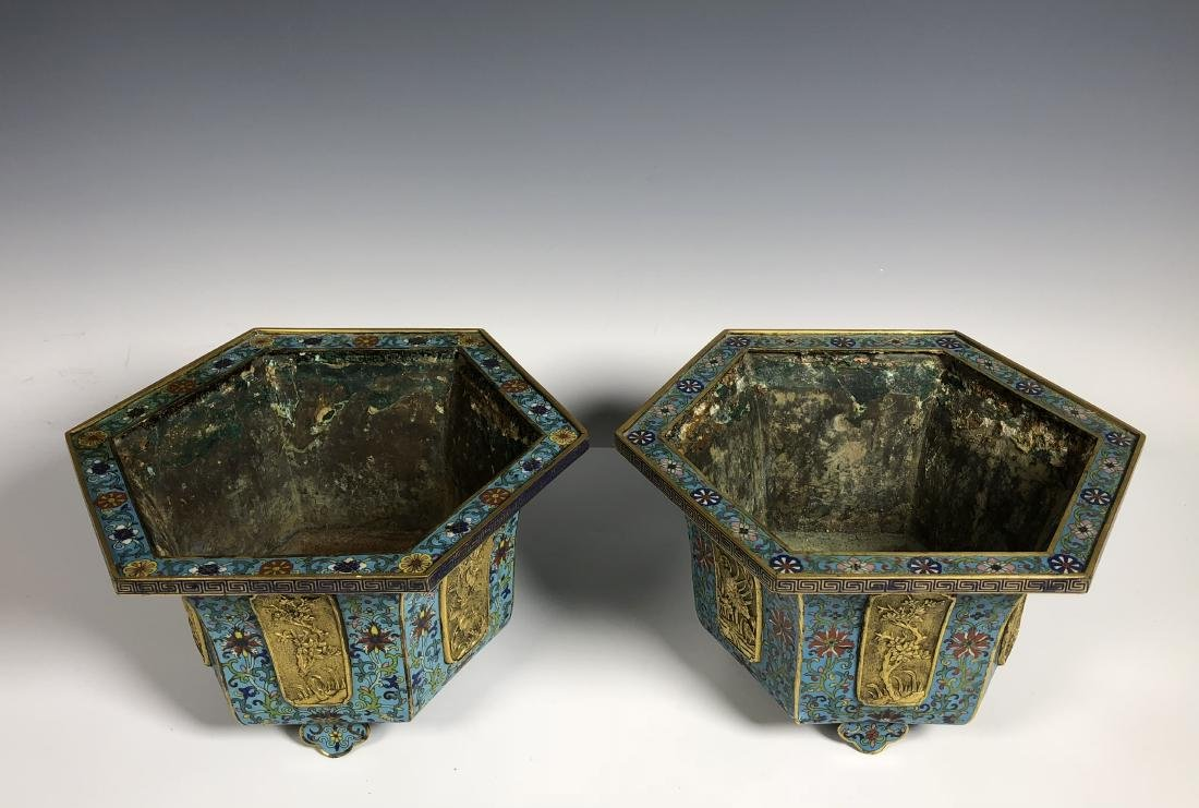 Pair of Chinese Qing Dynasty Cloisonné Planters - 4