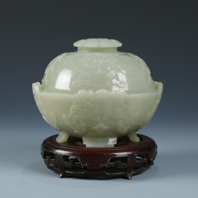 Carved White Jade Bowl with Cover