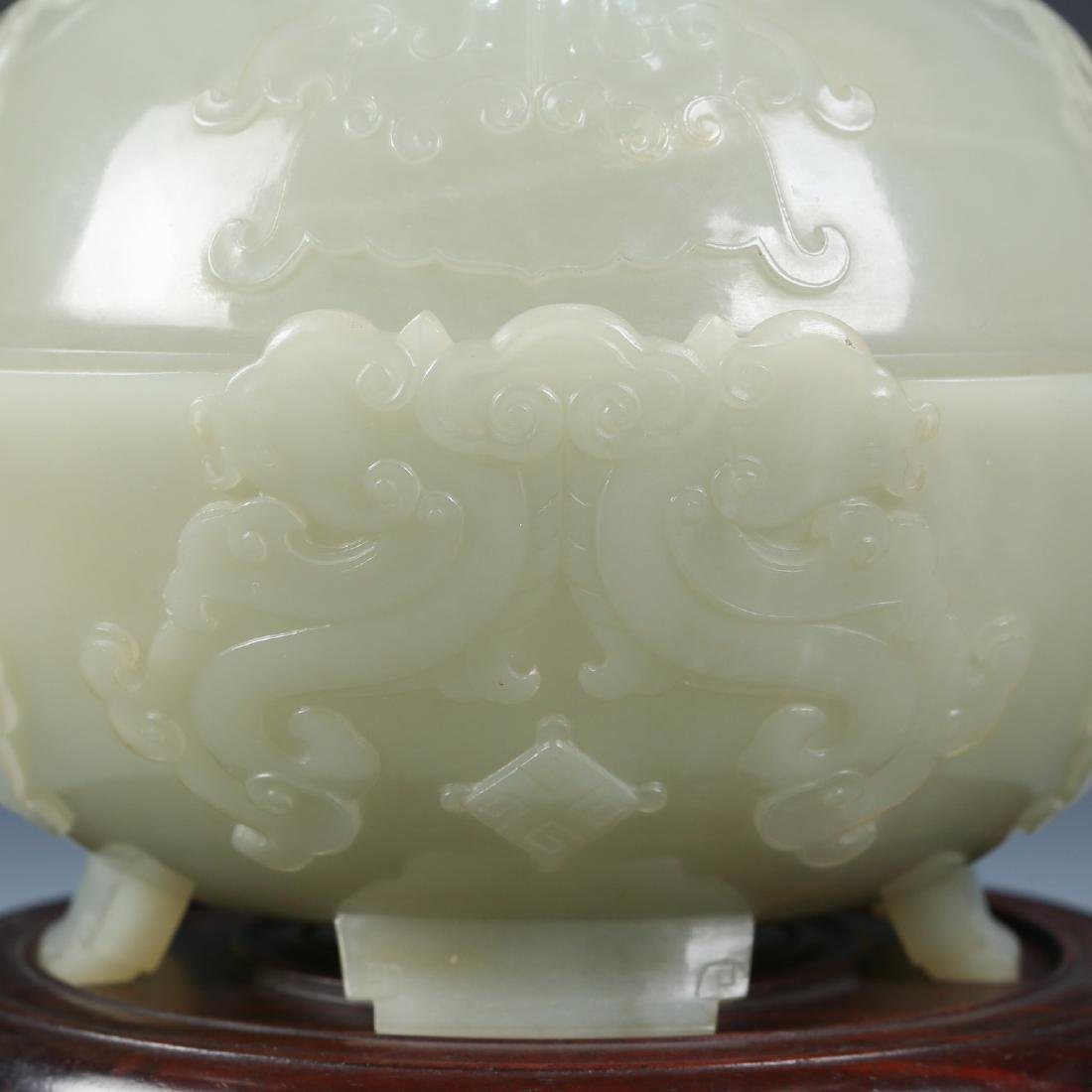 Carved White Jade Bowl with Cover - 3