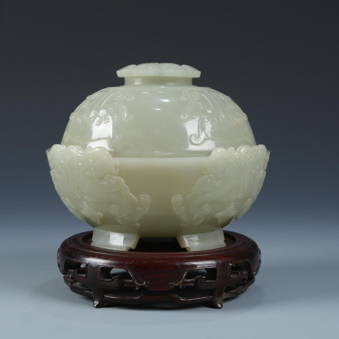 Carved White Jade Bowl with Cover - 4