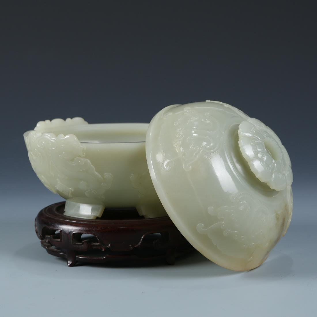 Carved White Jade Bowl with Cover - 7