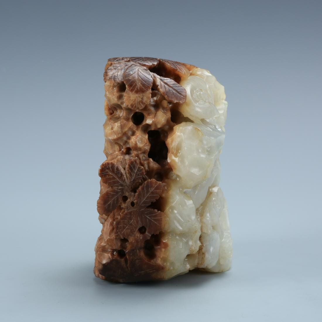 White and Brown Jade Carving Deer on Mountain - 2