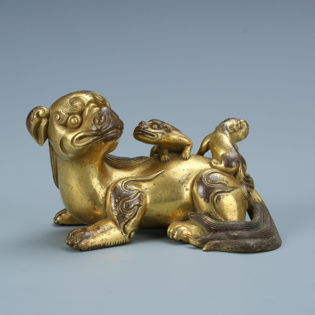 Gilt Bronze Lion with Young